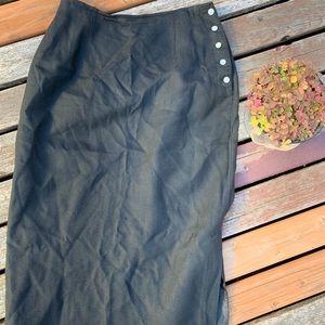 Vintage Liz Claiborne Black Rayon/Linen Skirt